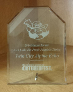 Twin City Alpine Echo - 2014 Hansie Award - Ein Prosit Peoples Choice